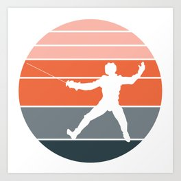 A Nice German Fencing Tee For Fencers Silhouette Of A Retro Fencer T-shirt Design Attack Defense Art Print