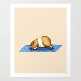 Yoguineas - Downward Facing Dog Art Print
