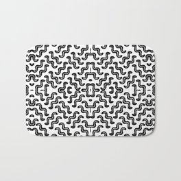 Black graphic squiggle tiles, abstract shapes, ethno-inspired Bath Mat