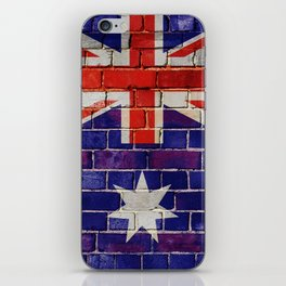 Australia flag on a brick wall iPhone Skin