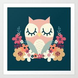 Floral Owl / Cute Animal Art Print