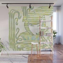 Eqyptian Style Girl Green Wall Mural