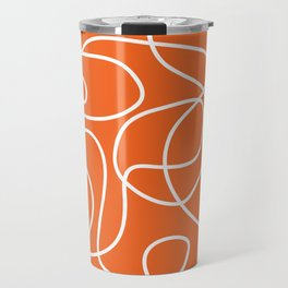Doodle Line Art | White Lines on Persimmon Orange Travel Mug