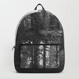 Magical Washington Rainforest Black and White Backpack