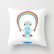 Skipping a Rainbow Throw Pillow