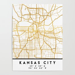 KANSAS CITY MISSOURI CITY STREET MAP ART Poster