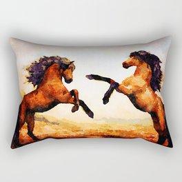 Horses playing Rectangular Pillow