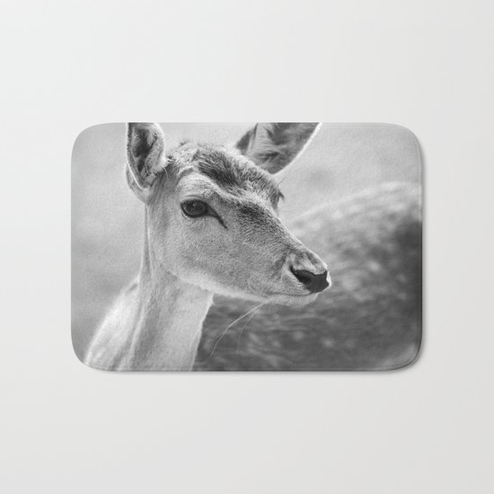 Deer black and white Photography Bath Mat
