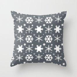 Snowflakes Gray Throw Pillow
