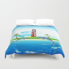 Jumping Dolphin on Sea Duvet Cover