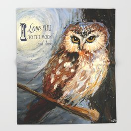 I Love You To The Moon And Back Owl Throw Blanket