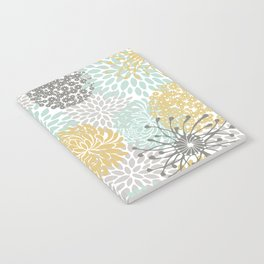 Floral Abstract Print, Yellow, Gray, Aqua Notebook
