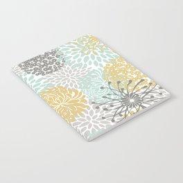 Floral Abstract Print, Yellow, Gray, Aqua Notebook