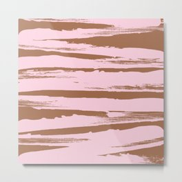 Rose brown abstract expressive brushstroke Metal Print