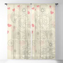 tea with love Sheer Curtain