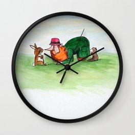 Eye to eye Leprechaun and Rabbit Wall Clock