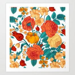 Vintage flower garden Art Print