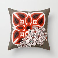 mid century Throw Pillows featuring Mid Century Hawaiian by Vikki Salmela