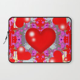 Grey Red Hearts Valentines & Pink Flowers Patterns Laptop Sleeve