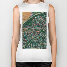 Farm vs City Aerial (Color) Biker Tank