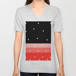 Black and red polka pattern #society6 Unisex V-Neck