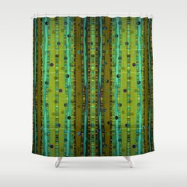 Ethnic Green Burlap Shower Curtain