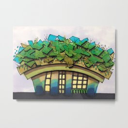 Rooftop Garden Architectural Illustration Metal Print