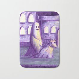ghost and dog horror painting Bath Mat