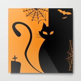 Edgar Cat - Halloween Cat Metal Print
