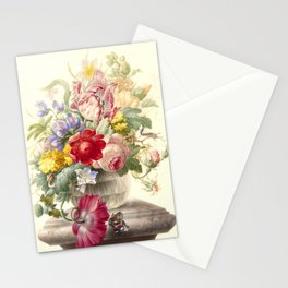 """Herman Henstenburgh """"Flowers in a Glass Vase with a Butterfly"""" Stationery Cards"""