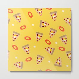 Pizza slices and onion rings Metal Print