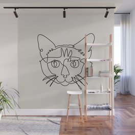 One line Siamese Cat Wall Mural