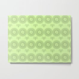 green boho pattern with mandalas and flowers Metal Print