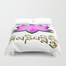 Lotus flower, om symbol and mantra 'om mani padme hum' Duvet Cover