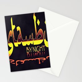 Istanbul By Night Skyline Cityscape Typography Stationery Cards