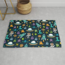 Deep Space, Night Sky, Rocket Ship, UFO, Space Alien, Astronaut, Outer Space Rug