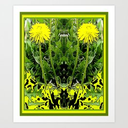Green-Yellow  Gothic  Dandelions Architectural Fantasy Art Print