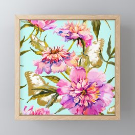 Flowery nature and golden butterfly Framed Mini Art Print