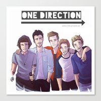 one direction Canvas Prints featuring One Direction by Gianbe