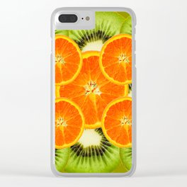 GREEN KIWI & JUICY ORANGE SLICES MODERN ART Clear iPhone Case