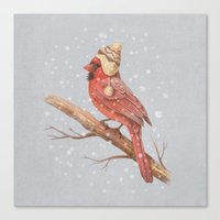 snow Canvas Prints featuring First Snow - colour option by Terry Fan