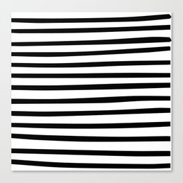Black and White Hand Drawn Stripes Canvas Print