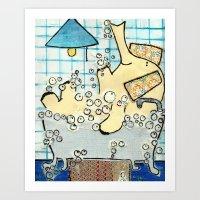 Elephant taking a bubble bath Art Print