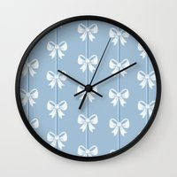 bows Wall Clocks featuring Bows by Pink Berry Patterns