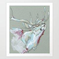 elk Art Prints featuring Elk by Sherie Myers