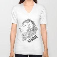 reggae V-neck T-shirts featuring Reggae Lions by Teo Designs