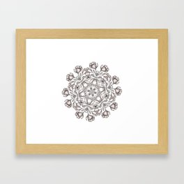 light broun flowers mandala Framed Art Print