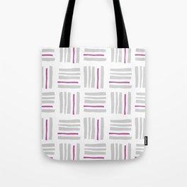 Stripes×Checkered Pattern_White&Pink Tote Bag