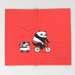 Cacti delivery. Panda on bicycle. Throw Blanket
