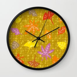 Autumn Leaves on Gold-leaf Screen Wall Clock
